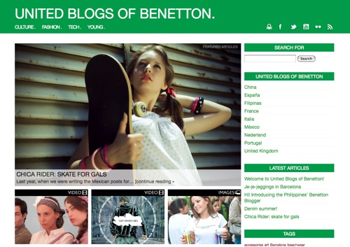 United Blogs of Benetton Blogger mexicana participa en el proyecto United Blogs of Benetton